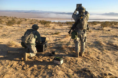 Soldiers with the 780th Military Intelligence Brigade conduct cyberspace operations during a training rotation for the 2nd Stryker Brigade Combat Team, 2nd Infantry Division, at the National Training Center at Fort Irwin, Calif., Jan. 24. The Fort Meade, Md.-based 780th was one of several cyber organizations that took part in the rotation as part of an pilot program to designed to help the Army develop how it will build and employ cyber in its tactical formations.  (U.S. Army photo)